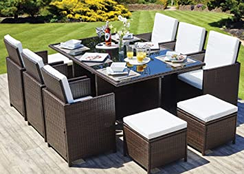 999b96d3ec36 Image Unavailable. Image not available for. Colour: CUBE RATTAN GARDEN  FURNITURE SET CHAIRS SOFA TABLE OUTDOOR PATIO WICKER 8 ...