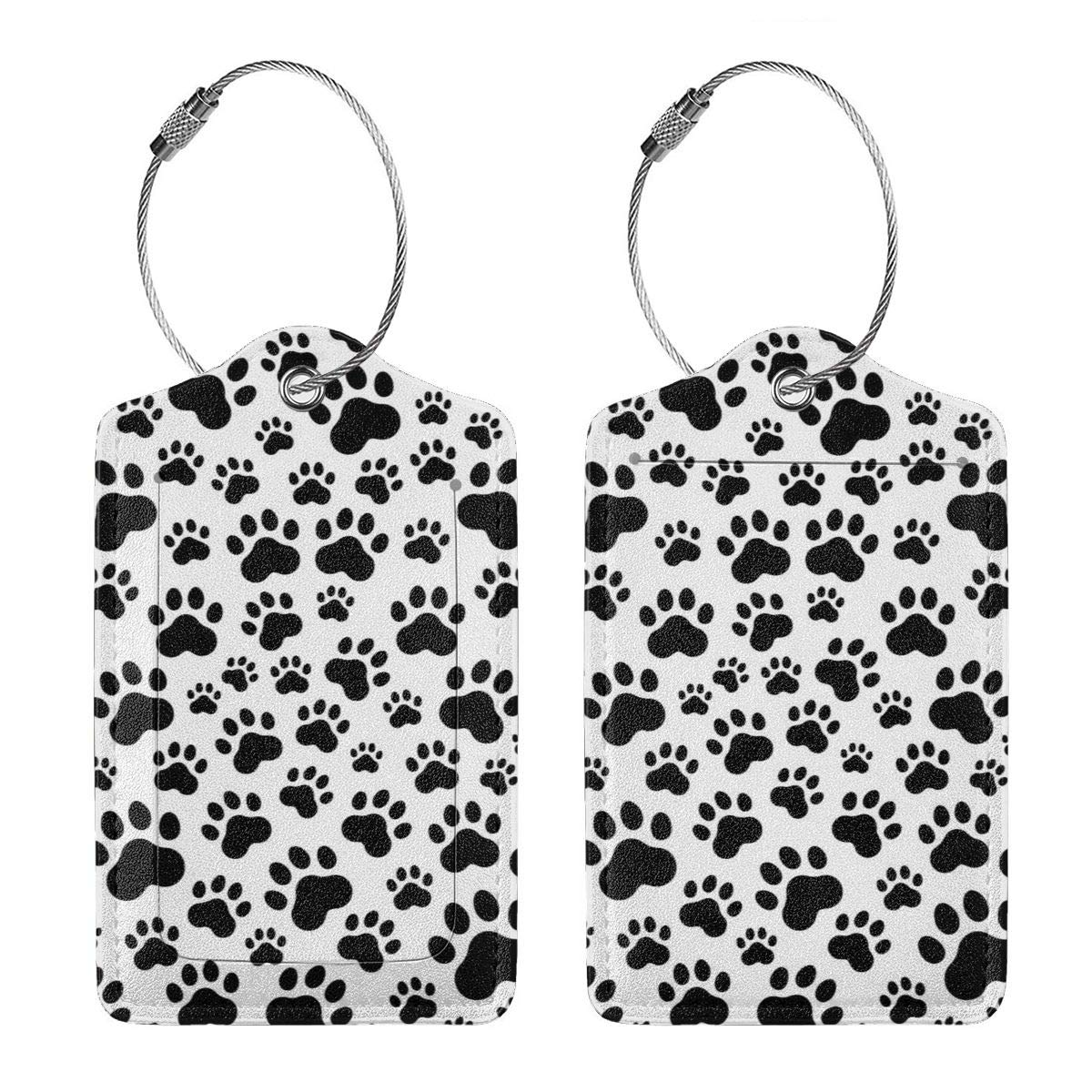 GoldK Dog Paw Print Leather Luggage Tags Baggage Bag Instrument Tag Travel Labels Accessories with Privacy Cover