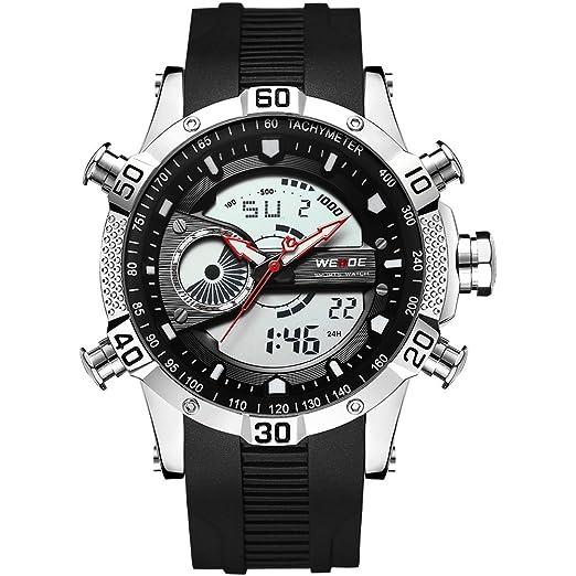 Weide reloj de hombre digital reloj con pulsera de silicona negra: Amazon.es: Relojes