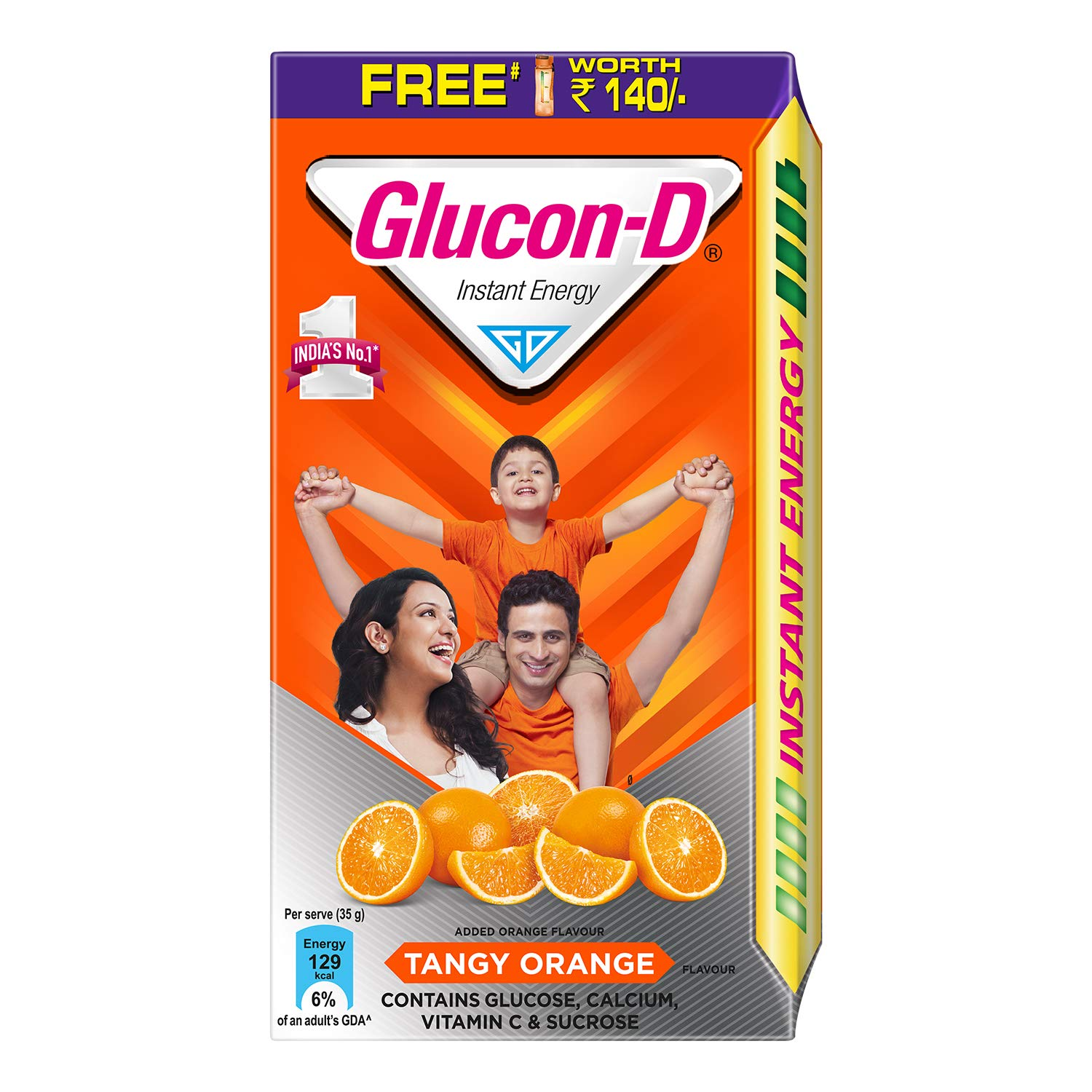 Glucon D Instant Energy Health Drink Tangy Orange - 1kg Refill with free bottle