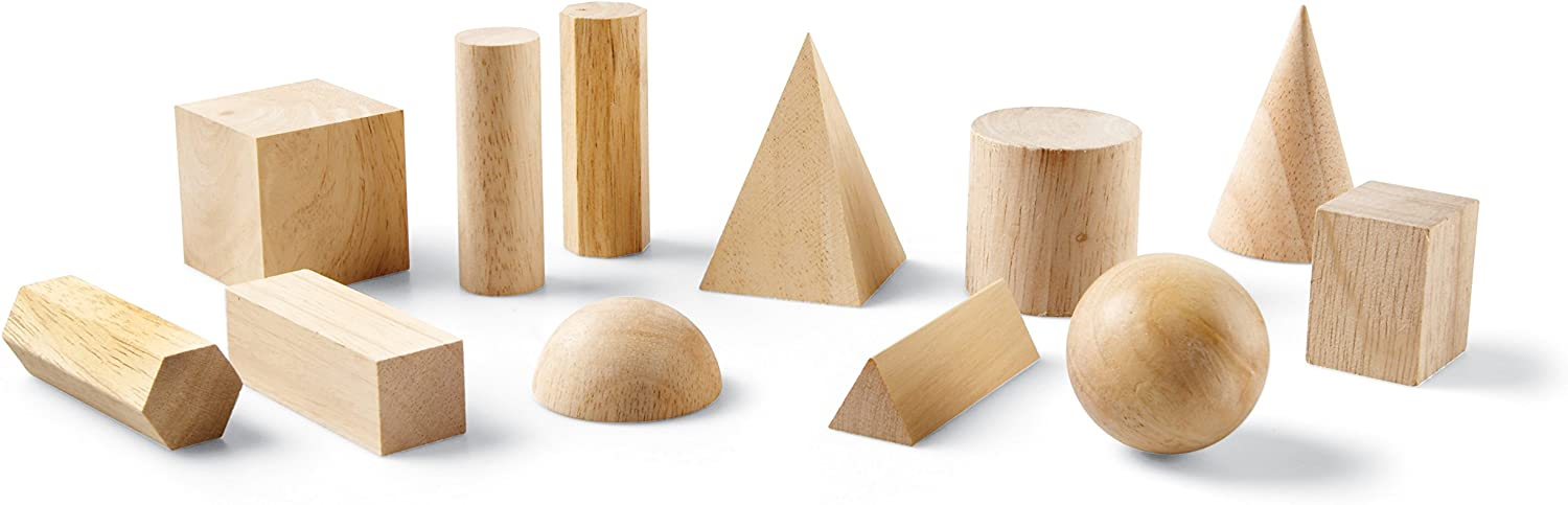 Wooden Shapes Ages 6+ Set of 12 Geometric Shapes Learning Resources Geometric Solids