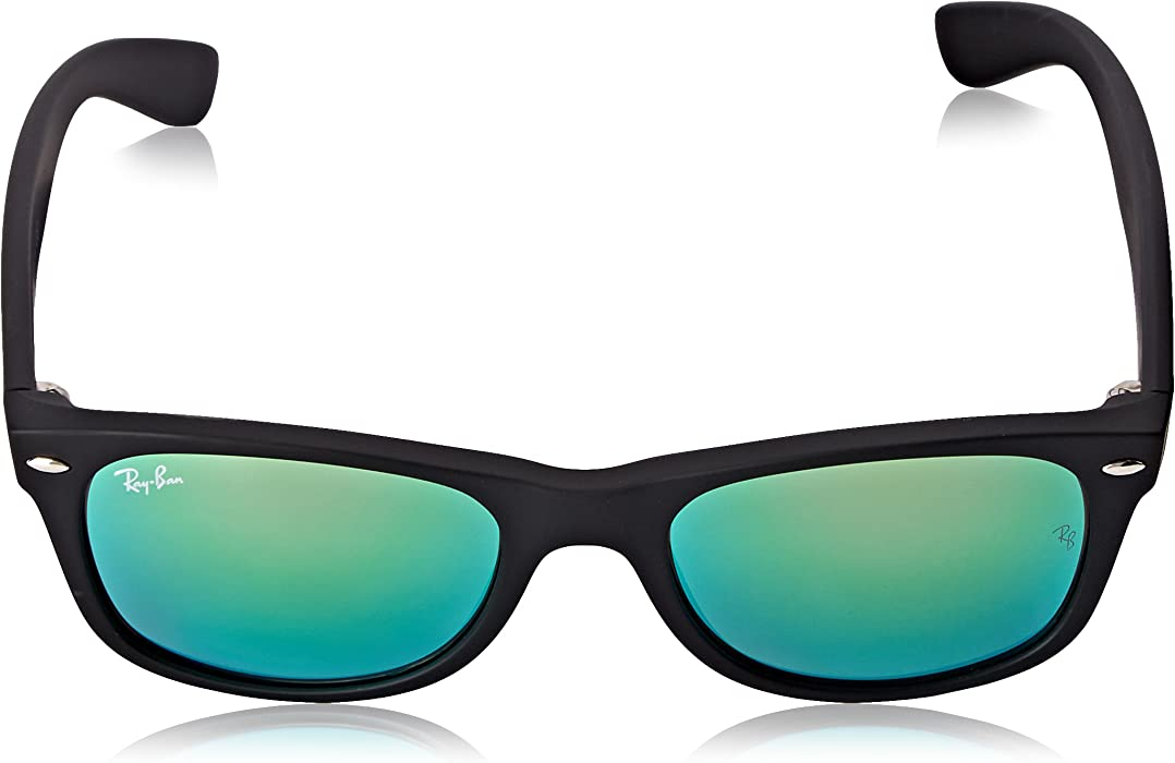 0c2ff5ffd6 New Wayfarer Sunglasses in Rubber Black Grey Green Mirror RB2132 622 19 52