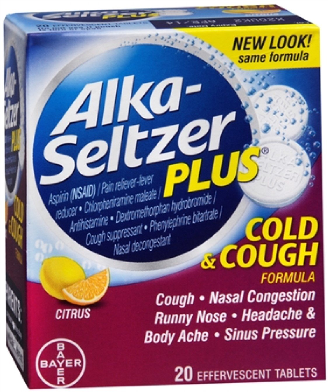 Alka-Seltzer Plus Cold & Cough Formula Effervescent Tablets, Citrus 20 ea (Pack of 9) by Alka-Seltzer
