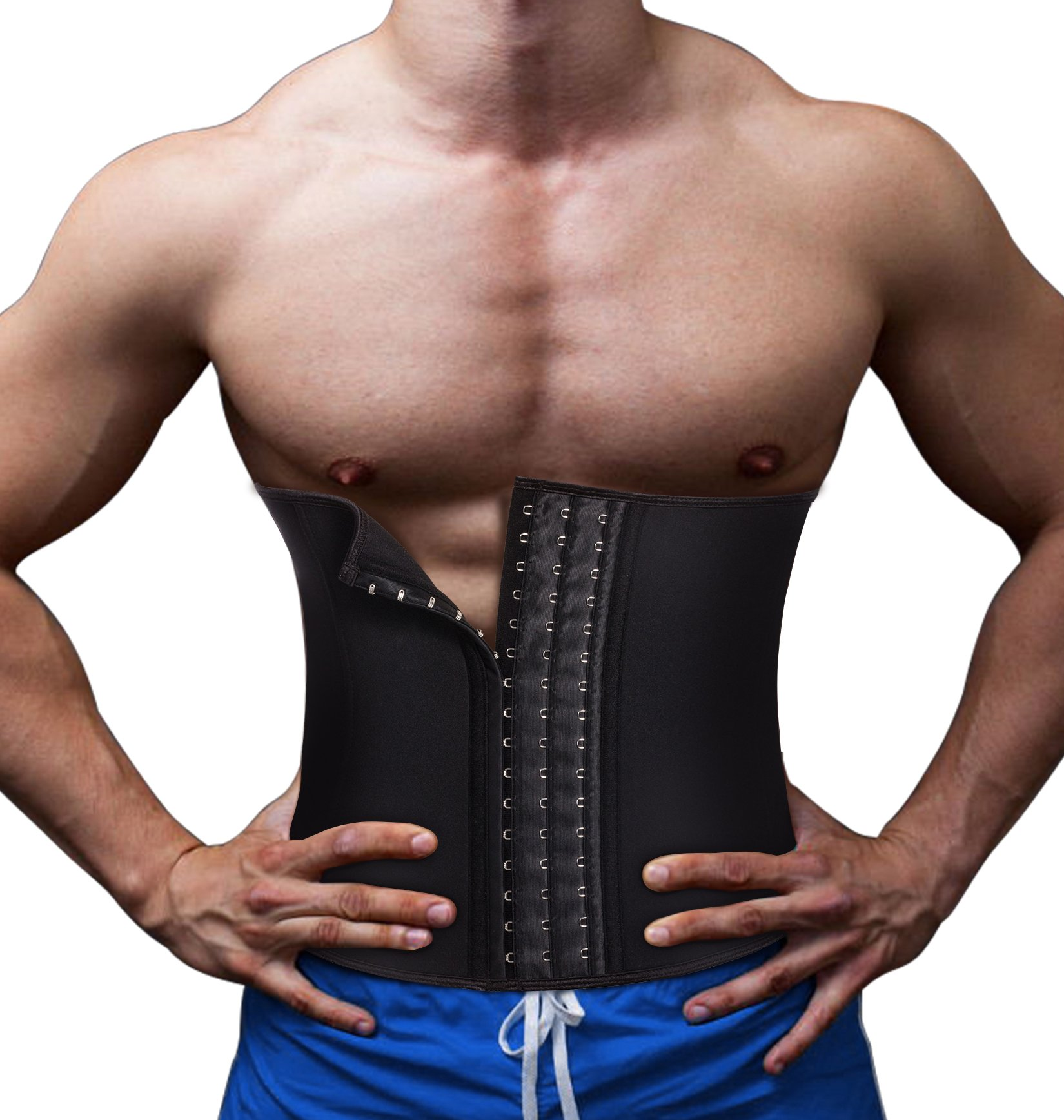 TAILONG Slimming Underwear Body Shaper Waist Trainer Belt Men Workout Back Support Trimmer for Weight Loss (Black, L)