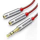 Audio Splitter, iVanky Headphone Splitter Cable - 3.5mm Audio Stereo Y Splitter Cable/ 3.5mm Male to 2 Port Female Aux Extension Cord for headphones, phone, speaker and more - (Red, Nylon Braided)