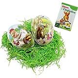 COM-FOUR® Lot de décoration pour Pâques, œufs de Pâques à garnir en version motifs, herbe de Pâques et 5couleurs pour décorer les œufs, Lapin