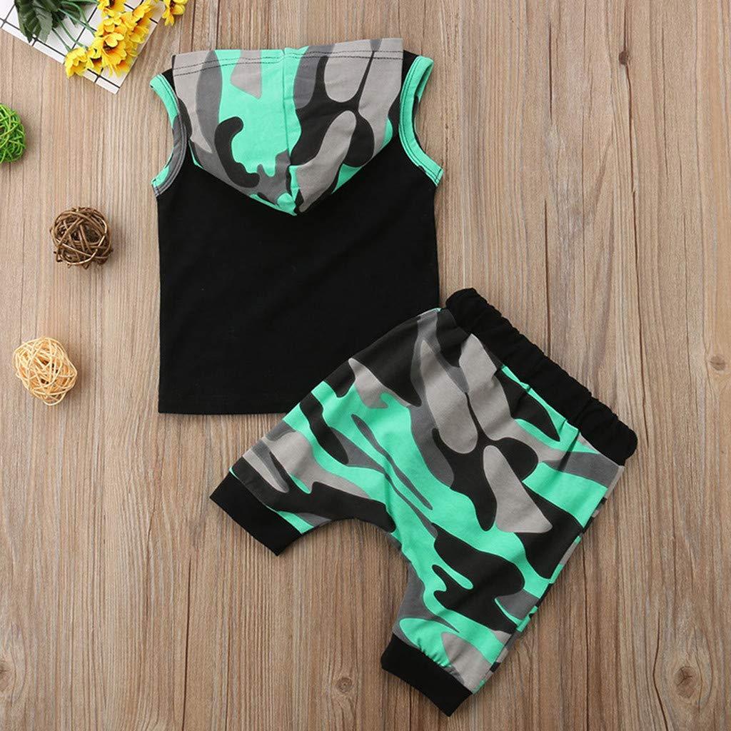 ❤️ Mealeaf ❤️ Toddler Baby Boys Letter Print Vest Hooded Tops+Camouflage Shorts Outfits Sets(Black,70)