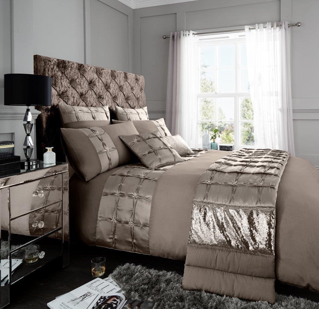 Adrianna Diamante Pintuck Duvet Quilt Cover PolyCotton Bedding Set Pillow Case