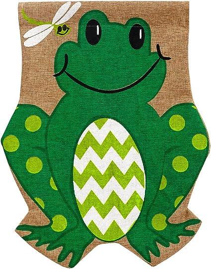 Evergreen Flag Friendly Frog Burlap Garden Flag 12 5 X 18 Inches Outdoor Decor For Homes And Gardens Garden Outdoor