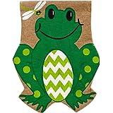 Smiling Summer Frog Burlap Garden Flag