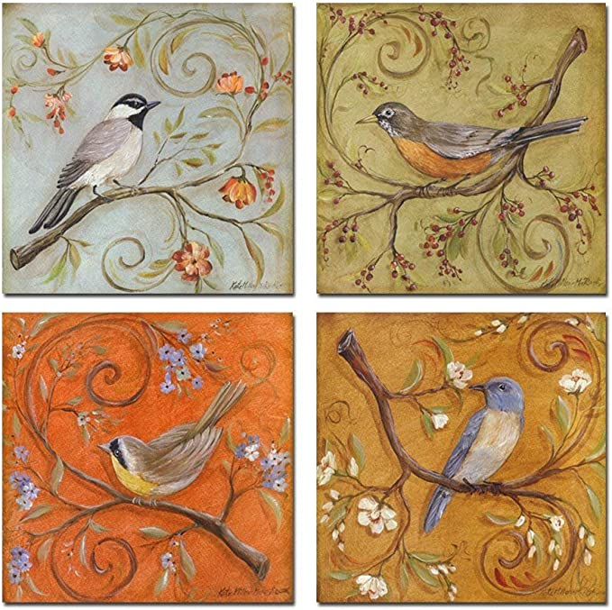 Amazon Com Sechars Gallery Wrapped Canvas Wall Art Set Of 4 Birds On Tree Branch With Blooms Painting Print On Canvas Animal Canvas Art Bird Flower Wall Pictures For Home Bedroom Decor