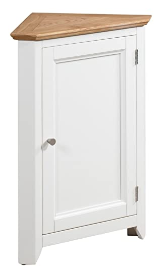 Merveilleux Clifton Oak White Painted Small Corner Storage Cupboard | Cream Wooden Low  Hallway Cabinet With Shelf