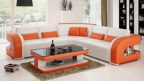 Amazon.com: My Aashis - Sofá de lujo con forma de L, Cuero ...