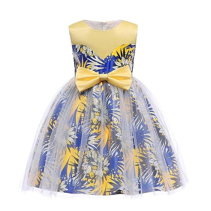 Vestido Lonshell Vestido sin mangas para niñas vestido de la impresión de la hojas del arco de las muchachas Vestido de tul infantil Vestido para bodas ...