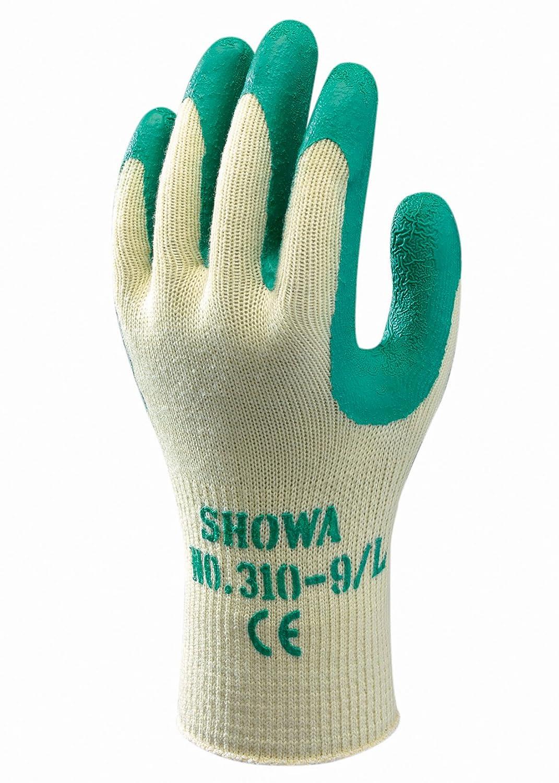 SHOWA 310XS green 10 Gauge Polyester Baumwolle Handschuh mit Latexbeschichtung auf Handinnenflä che, XS, Grü n