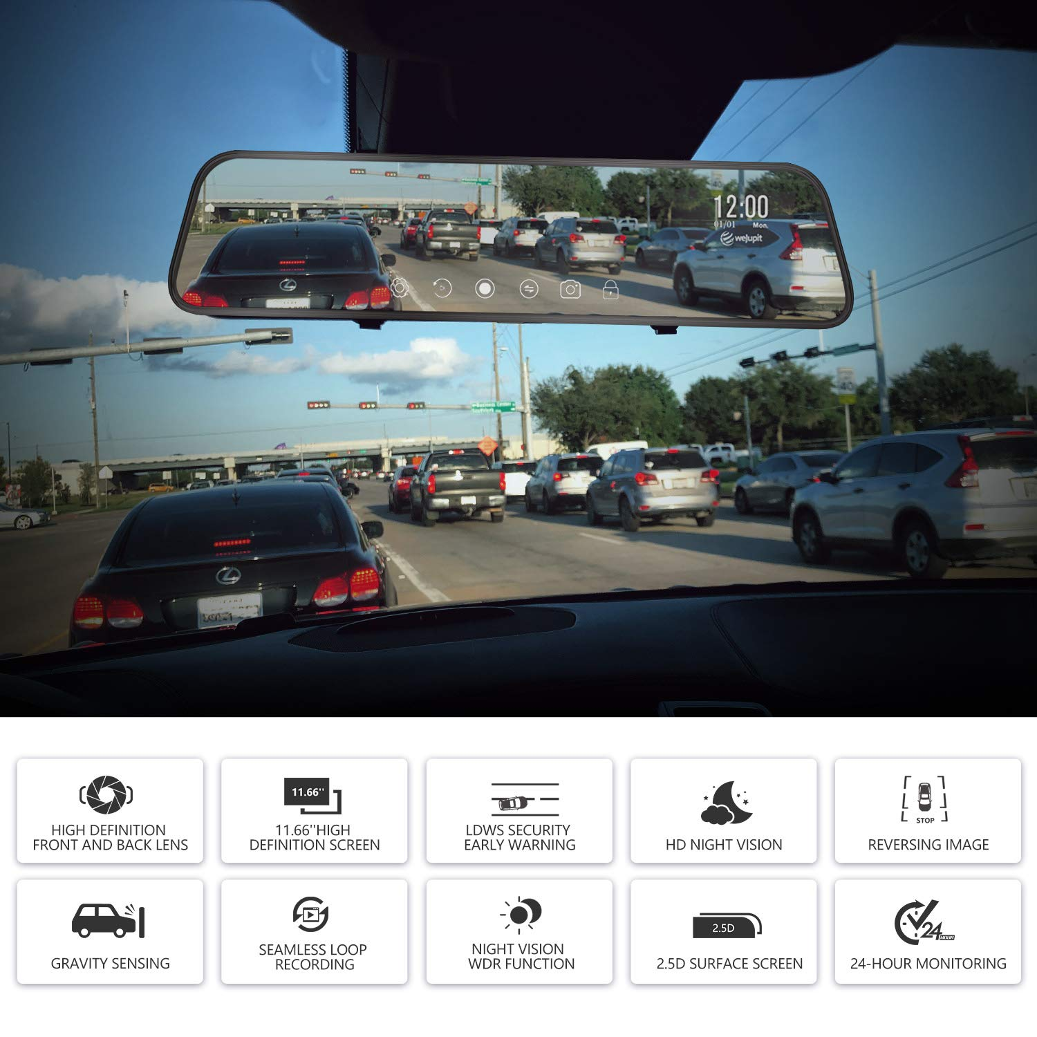 weJupit 11.66 Inch Car Backup Camera Dual Front and Rear Waterproof Touch Screen Stream Media Rearview Camera Night Vision LDWS Parking Monitor 1296P+1080P, 840Pro Mirror Dash Cam