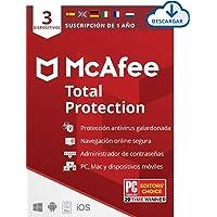 McAfee Total Protection 2021, 1 Año, Seguridad de Internet, Manager de Contraseñas, Seguridad Móvil, Descargable | 3…