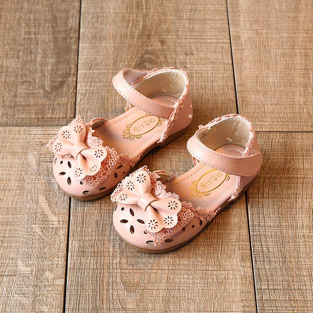 Efaster Toddler Baby Girls Elegant Bow Flower Princess Shoes Sandals for 0-6Years