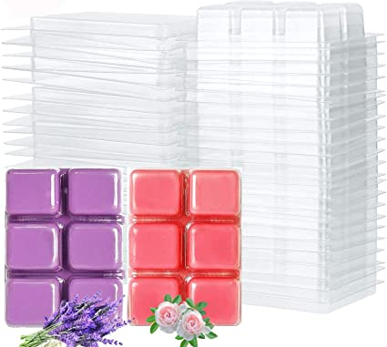 6 Cavity Clear Plastic Cube Tray for Candle-Making /& Soap Kampo 50 Packs Wax Melt Mold Wax Melt Clamshells Molds Square