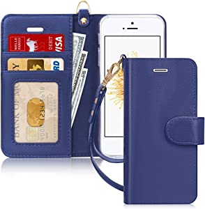 FYY Case for iPhone SE (1st gen-2016)/iPhone 5S/iPhone 5 Case, [Genuine Leather][Kickstand Feature] Flip Folio Case Cover with [Card Slots][Note Pockets] for Apple iPhone SE (1st gen-2016)/5S-NavyBlue