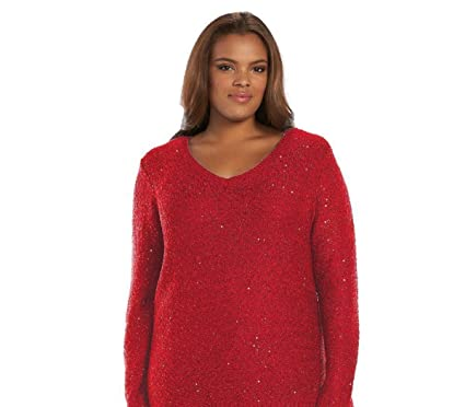 087638a74c Women s APT-9 Sequin V-Neck Sweater at Amazon Women s Clothing store