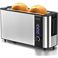 Long Slot Toaster, 2 Slice Toaster Best Rated Prime with Warming Rack, 1.7'' Extra Wide Slots Stainless Steel Toasters…