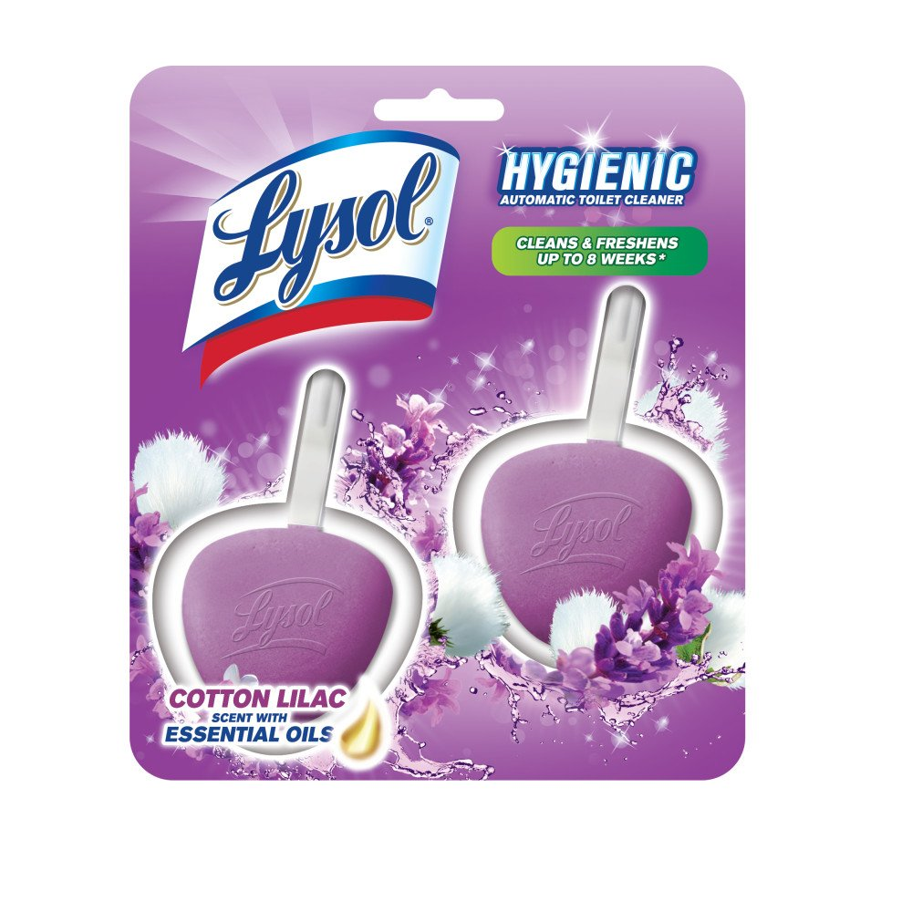 Lysol Hygienic Automatic Toilet Bowl Cleaner, Cotton Lilac, 2-Count