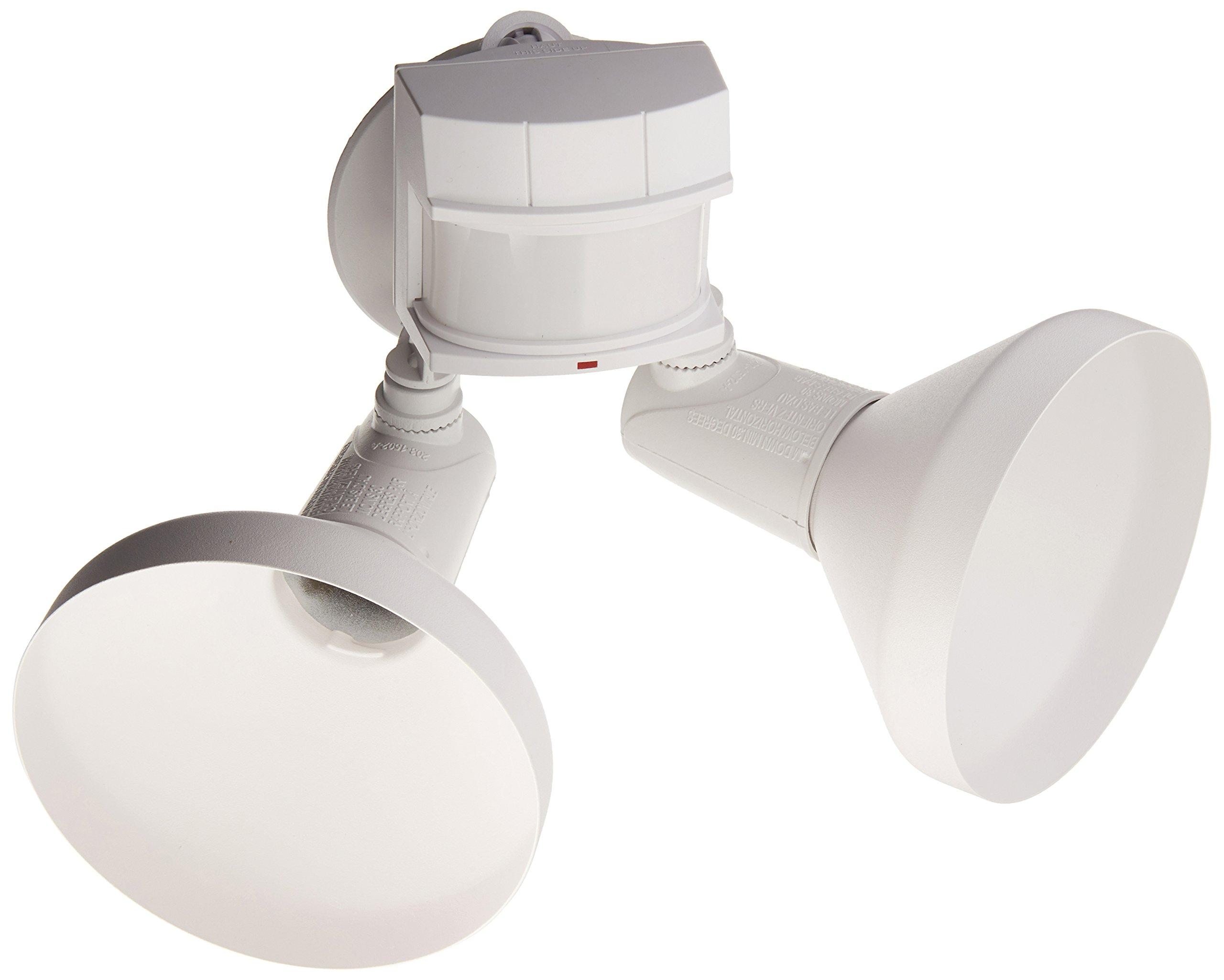 Heath Zenith HZ-5318-WH Halogen Flood Light, DualBrite Motion-Activated, White
