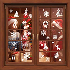 Christmas Snowflake Window Cling Stickers Decorations, 253 PCS Christmas Window Decals for White Wonderland New Year Holiday Ornaments Party Supplies