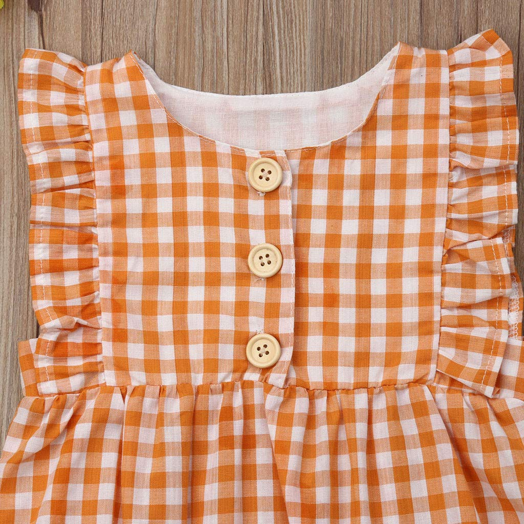 Swyss Toddler Baby Girls Boy Plaid Printed Romper Bodysuit Ruffled Sleeveless Jumpsuit Outfits Clothes 3-24 Months