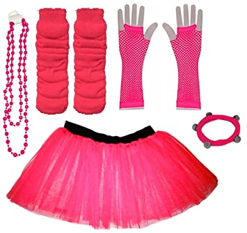 ffc7c8fa0d A-Express Hot Pink Childrens Kids Years 4-7 Neon Tutu Skirt Plain Legwarmers