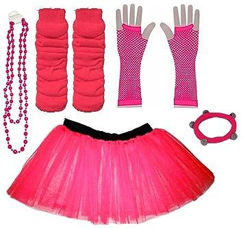 7450420b38 A-Express Hot Pink Childrens Kids Years 4-7 Neon Tutu Skirt Plain Legwarmers
