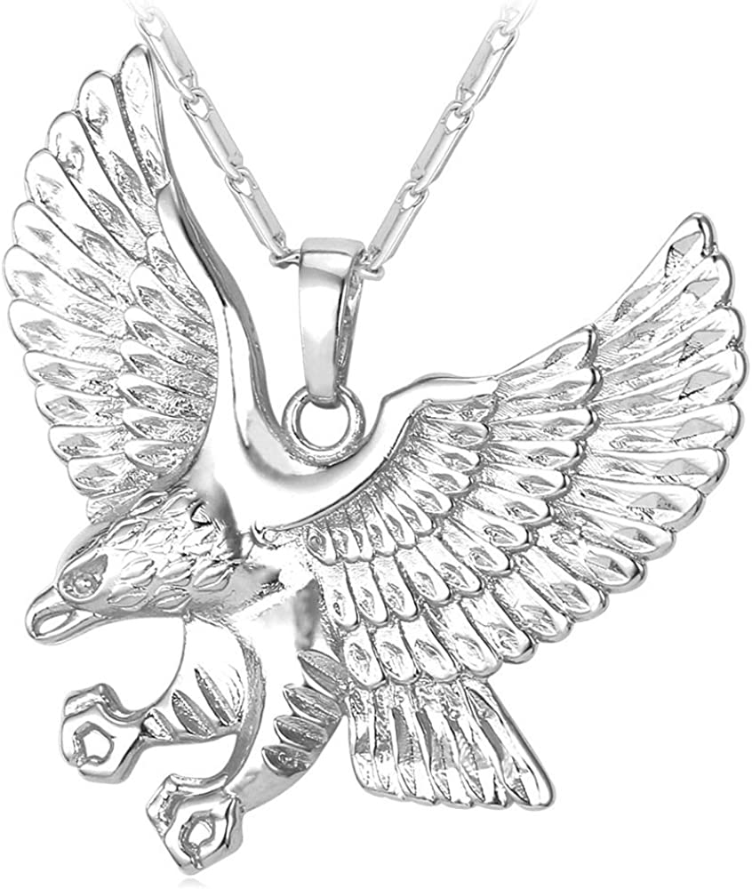 U7 Men Stainless Steel/18K Gold Plated Chain Cool King of The Sky Hawk Eagle Pendant Necklace