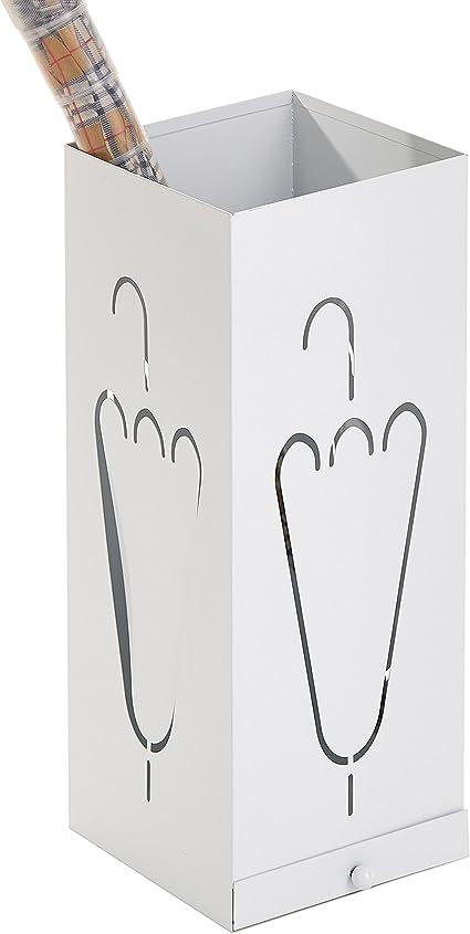 Moderno freestanding rettangolare bianco metallo portaombrelli supporto rimovibile con vaschetta