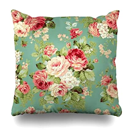 Suesoso 16quotx16quot Two Sides Printed Soft Cotton Vintage Pink Roses On Green Wallpaper