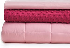YnM Weighted Blanket and Duvet Covers — Hot and Cold Duvet Cover Set (3 Pieces) — (Hot Pink, 48''x78'' 13lbs), Suit for One Person(~120lb) Use on Twin/Full Bed