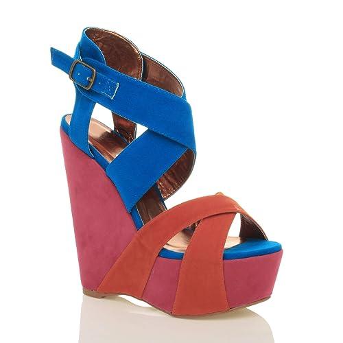 Donna plateau zeppa tacco alto con cinturino caviglia fibbia sandali taglia