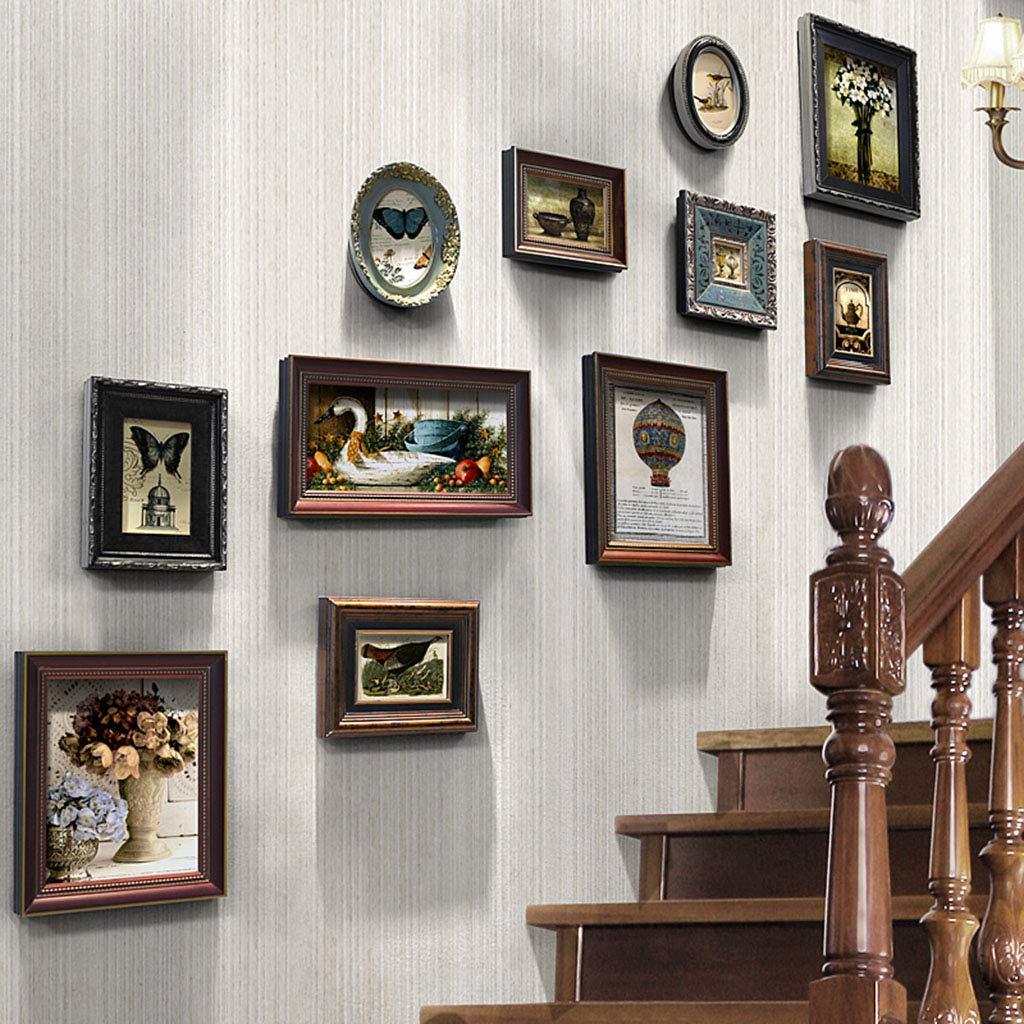 Unbekannt Deko fürs Babyzimmer Wand-Fotowand der europäischen Fotowand der Fotowand-Treppe europäische Wand hängende Fotorahmen-Kombinationsfotowand dekorative Fotorahmenwand Wohnaccessoires & Deko