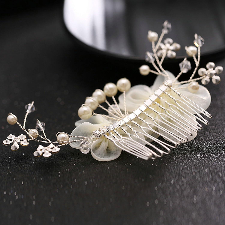 AMDXD Placcato Argento Accessori per Capelli da Sposa Zirconia Seta Fiore Perlinas Pettini per Capelli Donna Bianca