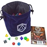 """Third Die Dice Bag - Very Large """"Bag of Hoarding"""" - Will Hold 450 Dice - Handcrafted and Reversible Drawstring Bag That Stands Open On The Table - For All Your Gaming Needs - Navy Blue and Gray"""
