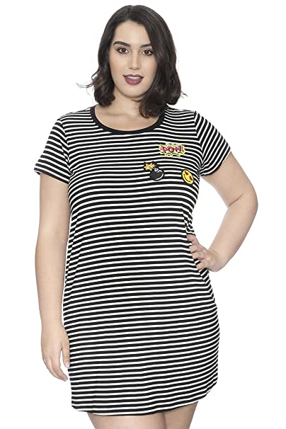 Grayson Shop Plus Size Stripe Patchwork T-Shirt Dress