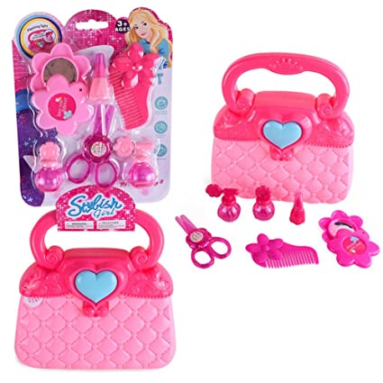 e42ddf55f Image Unavailable. Image not available for. Color: Little Girls Pretend  Makeup Set Cosmetic Beauty Salon Toy Pretend Dress-up Vanity Kit for