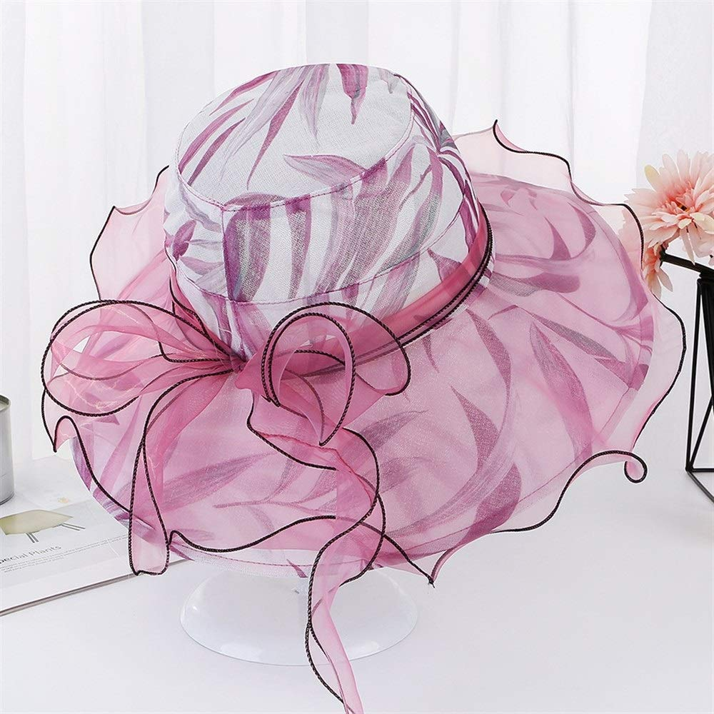 Color : D GXF Summer New mesh Wavy Side Sunshade Breathable Sun hat Ladies Printing Bow Fashion Cap