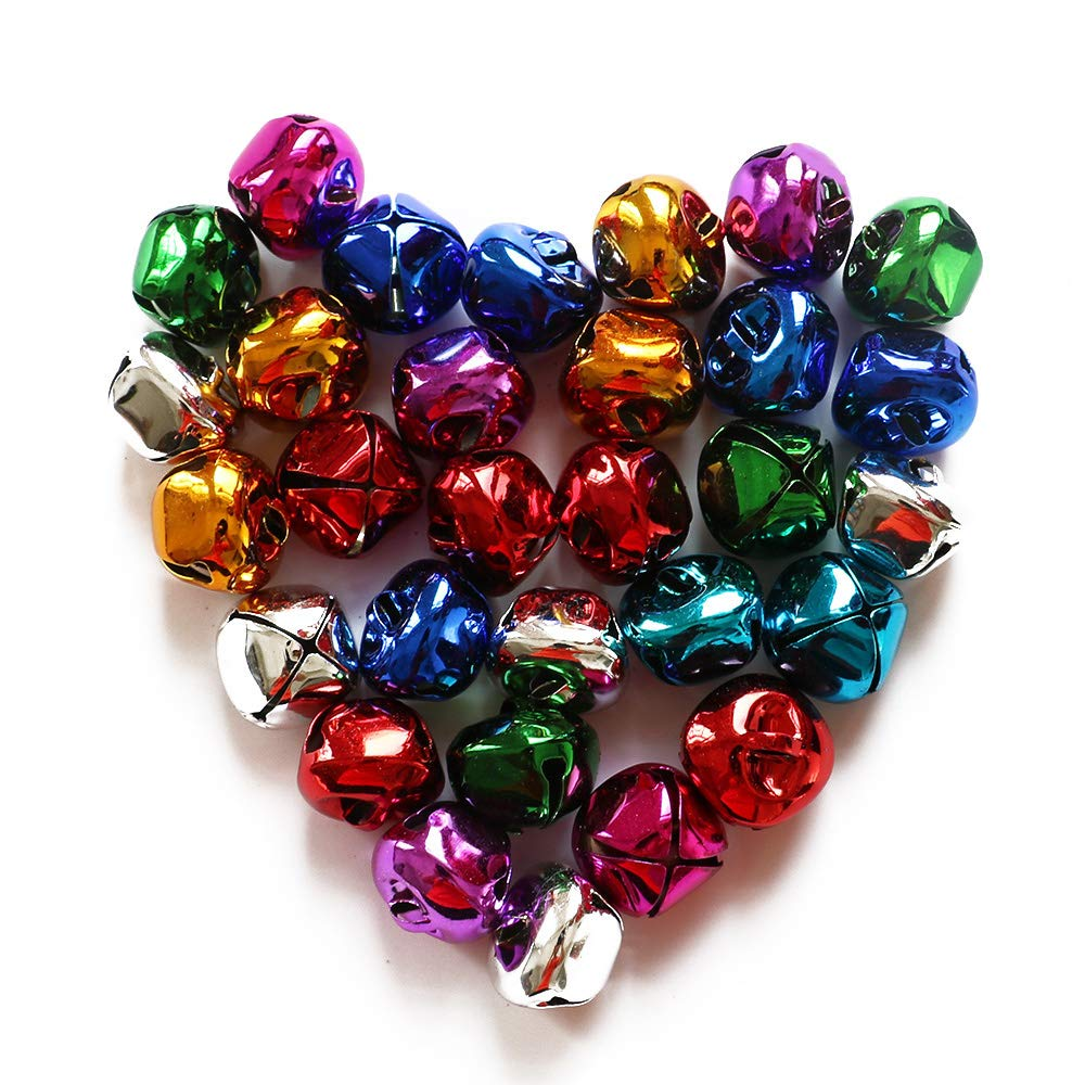 YEJI 60pcs Multi color 1 Inch Christmas Bells Iron Loose metal Beads Jingle Bells Christmas Decoration Pendants DIY Crafts Handmade Accessories