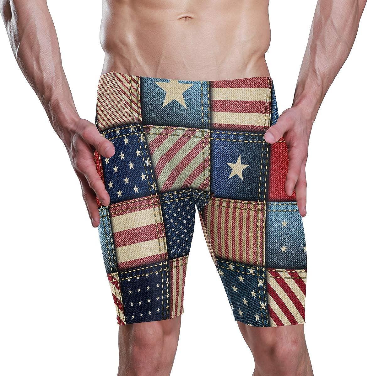 American Flag Patriotic Men Jammer Briefs Trunks Swimsuit Swimwear Bodysuits
