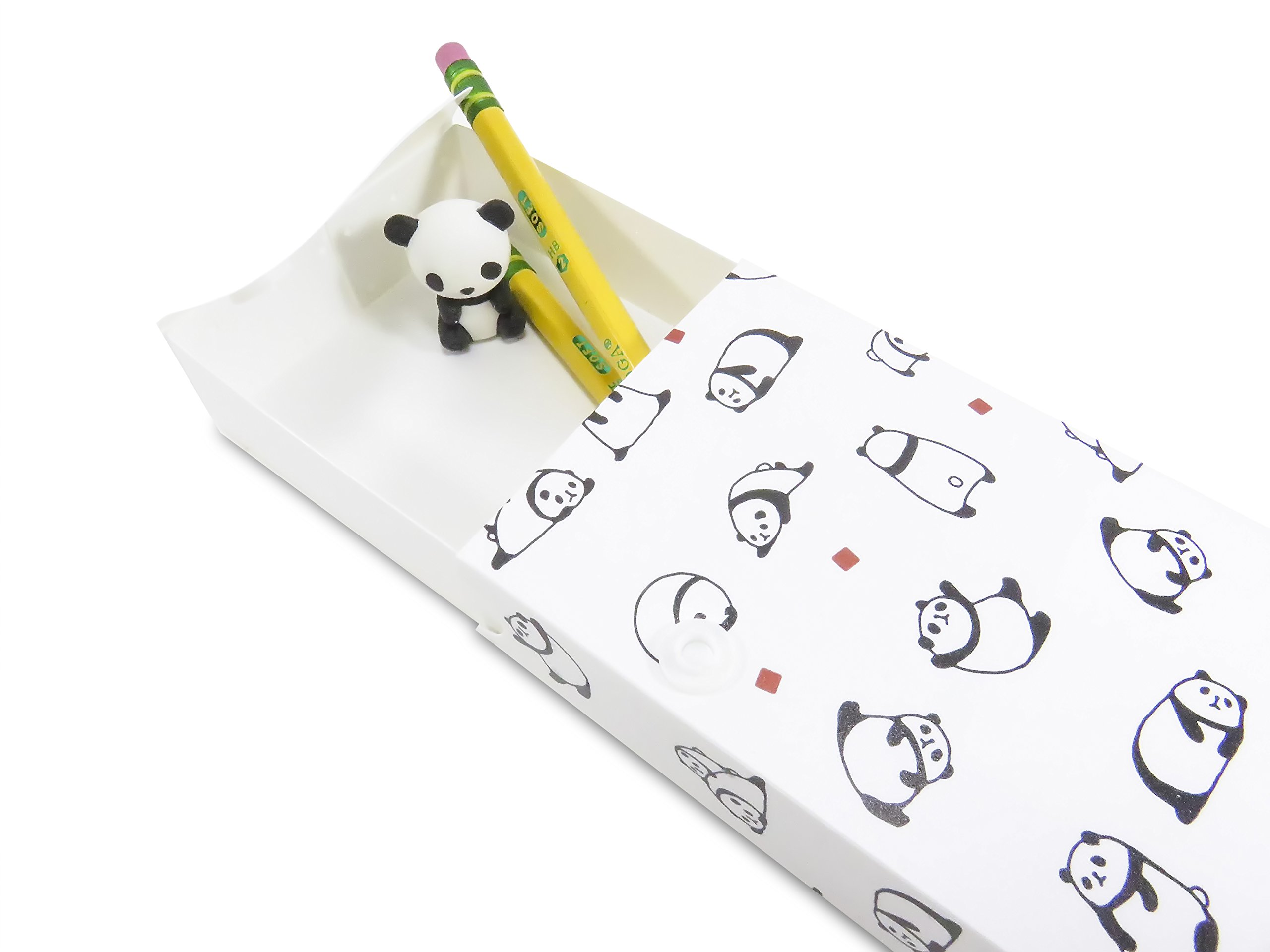 Cute 2-Pocket Panda Plastic Glossy Folder with Pencil Pen Case and 2 Yellow Unsharpened Pencils (5 Piece Set) by Mixed (Image #2)
