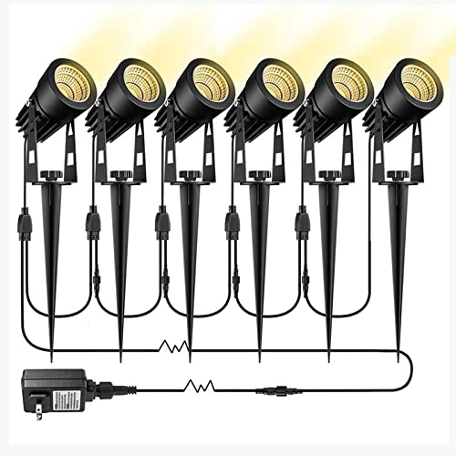 GreenClick 3W LED Landscape Lighting 6 Pack Low Voltage 12V Garden Pathway Lights Extendable 1800 Lumens Super Warm White IP65 Waterproof Outdoor Spotlights with Stakes for Yard, Lawn, Garden
