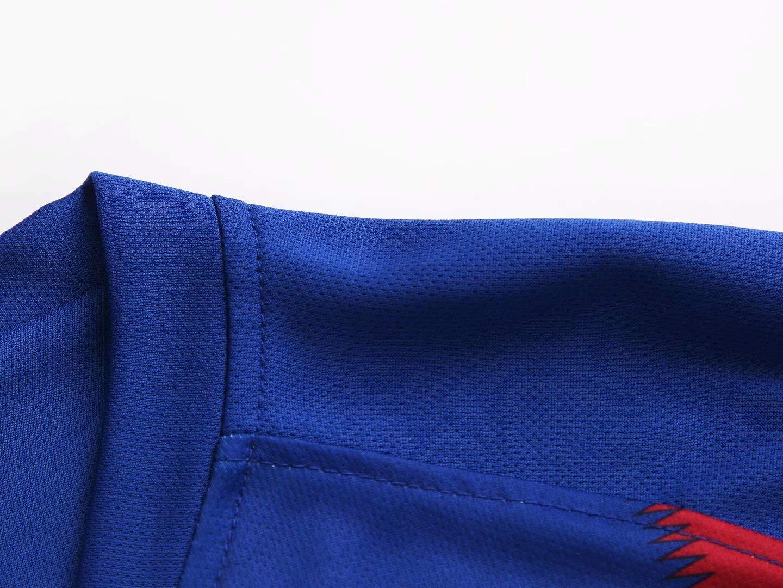 Child~15kg//100~110cm LLMM Maglia Barcelona Maglia da Calcio Maglia Griezmann 17# Jersey Adulto Tuta da Bambino Manica Corta Calze Uniforme da Calcio,16~ Pantaloncini