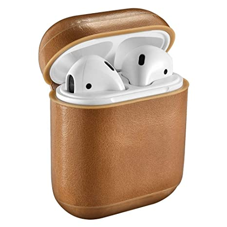 lowest price de21f a613c AirPods Case Cover Handmade Genuine Leather Protective Shockproof Case  Compatible with Apple AirPods 1 & 2 Charging Case [Front LED Not Visible]  ...