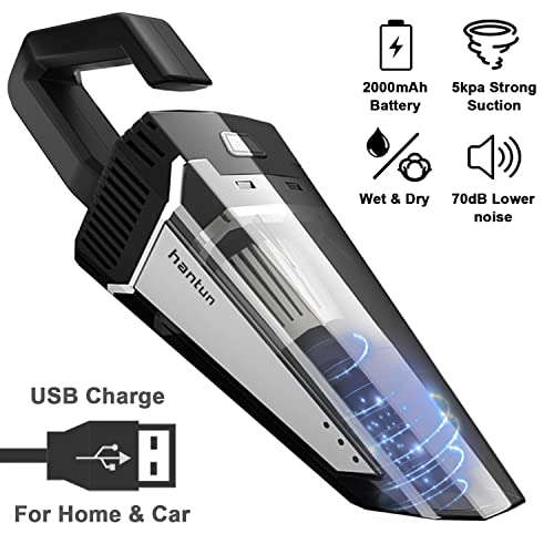 Car Vacuum, Hantun Portable Handheld Cordless Vacuum, 5000pa Powerful Suction Lightweight Auto Vacuum Cleaner for Wet and Dry Cleaning